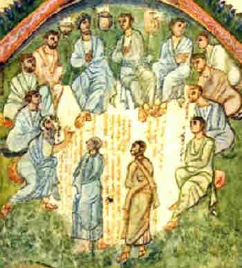 Избирането на ап. Матий, изобразено през VI в. от сирийския монах Рабула в Четвероевангелие (Rabbula Gospels).