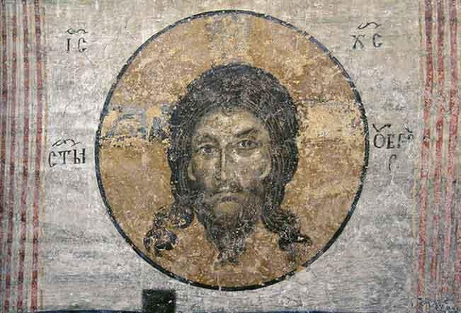 Светият Убрус - неръкотворният образ на Христа.  Детайл от стенопис от 1259 г. в Боянската църква край София