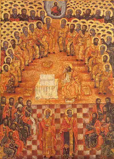 Свв. отци от Първия вселенски събор - българска икона от 1829 г.
