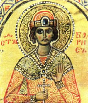 Св. княз Борис-Михаил. Детайл от миниатюра от Учителното Евангелие на еп. Константин Преславски от IX век.