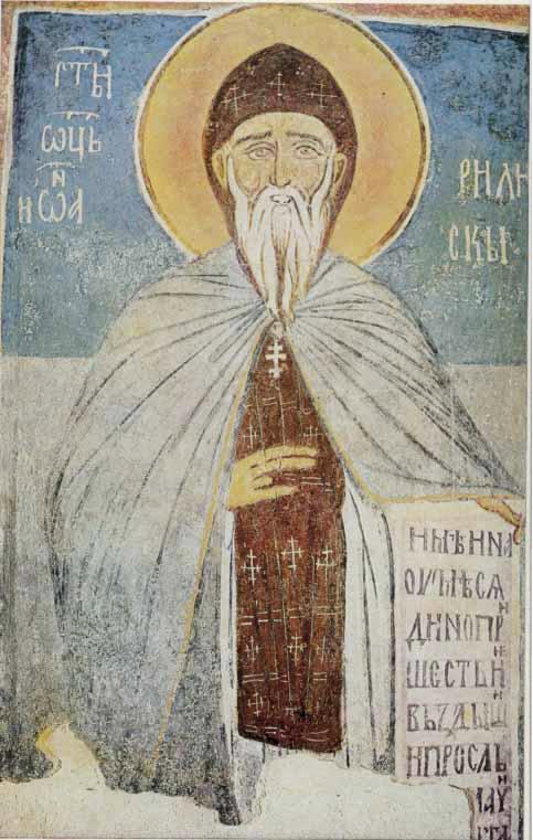 Св. Йоан Рилски. Стенопис от XIV в. в църквата на Земенския манастир.