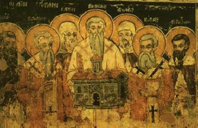"""Св. Седмочисленици. Фреска от манастира """"Св. Наум"""" край Охрид, съхранявана днес в музея на гр. Скопие."""