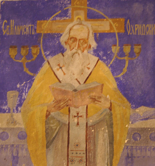 Св. Климент Охридски, стенопис от Чекотинския манастир.
