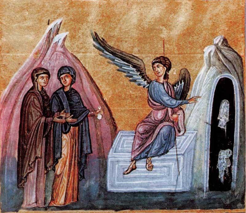 Светите жени-мироносици и ангелът пред празния гроб на Христа