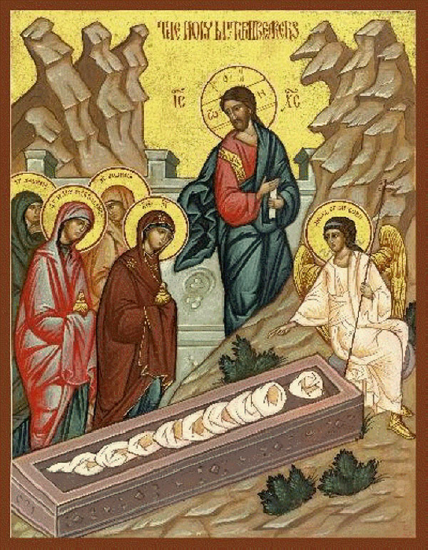 Св. жени-мироносици на гроба на Христа. Гръцка икона.