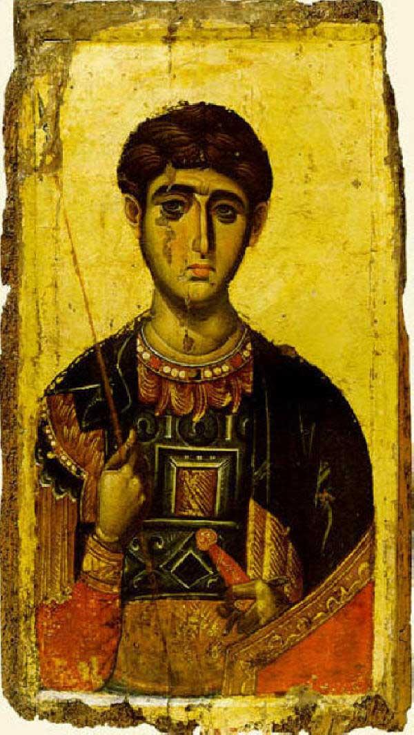 Икона на св. Димитър Солунски от Мануил Панселинос, манастира Ватопеди в Света Гора, ок. 1300 г. Източник: culture.gr.
