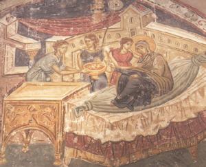 Рождество Богородично - фреска от началото на XIV век, катедралата в Призрен, Косово. [sv-luka.org]