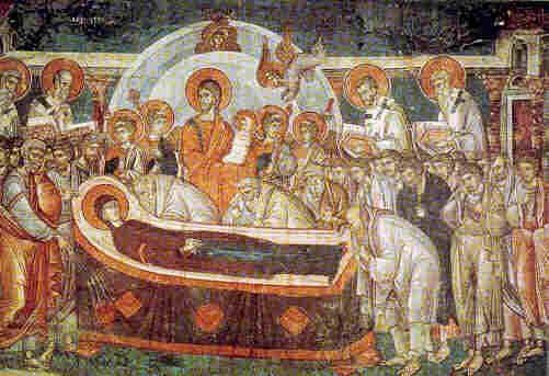 """Успение Богородично. Фреска от първата половина на XIV век в храма """"Св. Николай"""" в Солун."""