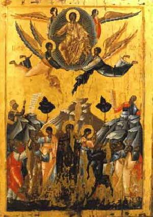 Възнесение Господне. Икона от 14 в. Decany monastery.