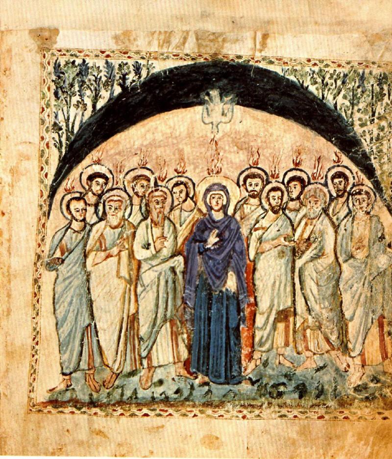 Слизането на Св. Дух над апостолите. Може би най-древното изображение на Св. Петдесетница в Сирийското евангелие на монаха Равула (Rabbula Gospels) - VI в., Антиохийска църква.
