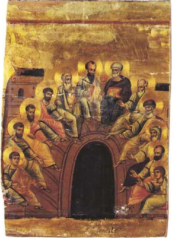 Слизането на Светия Дух над апостолите. Византийска икона от Синай от края на  XII и началото на XIII в.