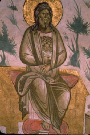 """Лоно Авраамово, детайл от композицията """"Страшния Съд"""" в манастира Dechani манастир."""
