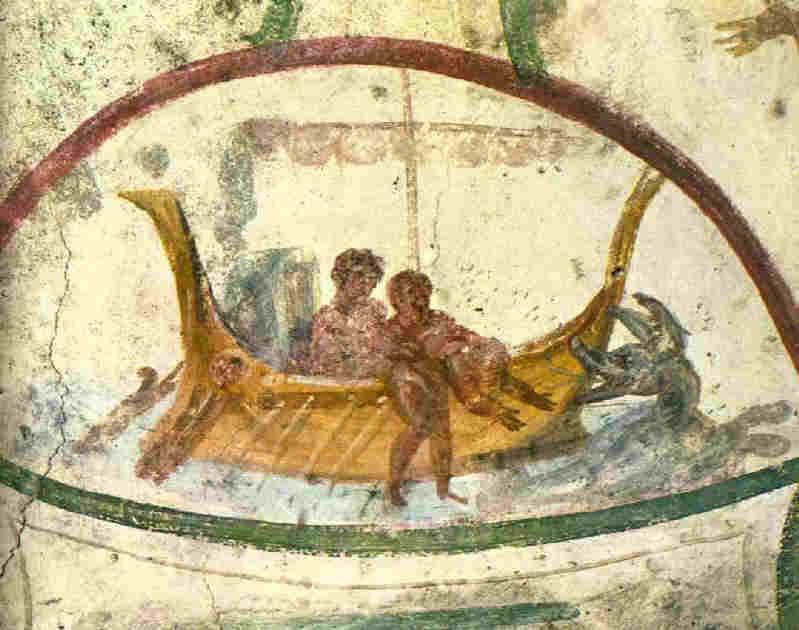 Пророк Йона и кита - фреска от 3-4 в. Catacomb of Sts. Peter and Marcellinus в Рим