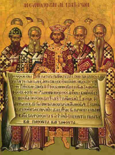 Светите Отци от Първия вселенски събор. Гръцка икона, goarch.org.