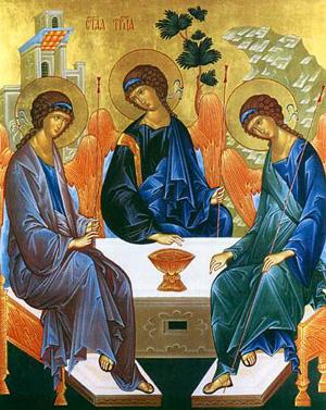 Посещението на Авраам. Съвременна икона.