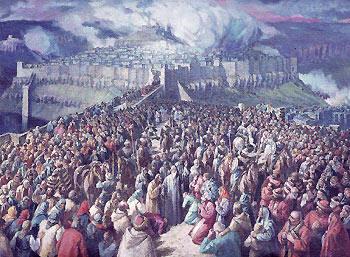 Патриарх Евтимий се прощава с търновското население при заточението си. Худ. Б. Денев.