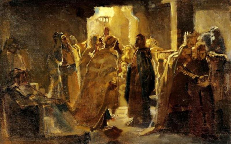 Иисус Христос в синагогата. Рисунка от Николай Николаевич Ге (1831-1894).