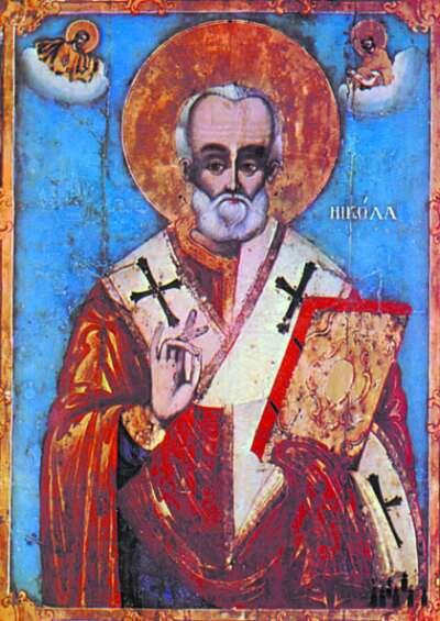 Св. Николай Мирликийски - икона от едноименната църква в Сливен,  Йоаникий Папа Витанов, 1831 г. Източник: Църковен вестник