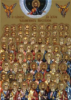 Събор на св. Седемдесет апостола. Съвременна гръцка икона. The Synaxis of the 70 Holy Apostles