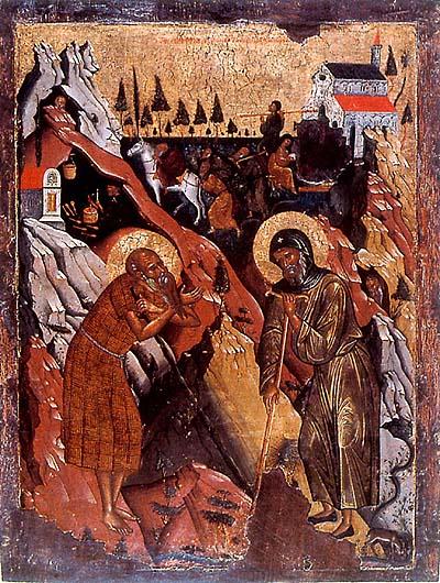 Св. Антоний с друг пустинноживеещ, икона от 16 в.
