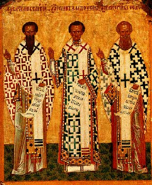 Свети Три Светители - св. Василий Велики,  св. Иоан Златоуст и св. Григорий Богослов - гръцка икона