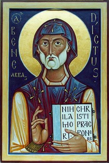 Св. Бенедикт Нурсийски, съвременна руска икона, Псков.