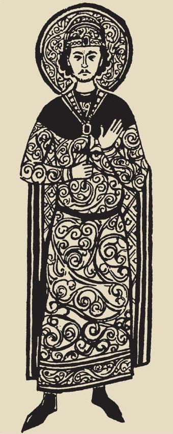 Княз Борис І. Миниатюра в Учително евангелие на Константин Преславски. Руски препис от ХІІІ в. Държавен исторически музей, Москва.