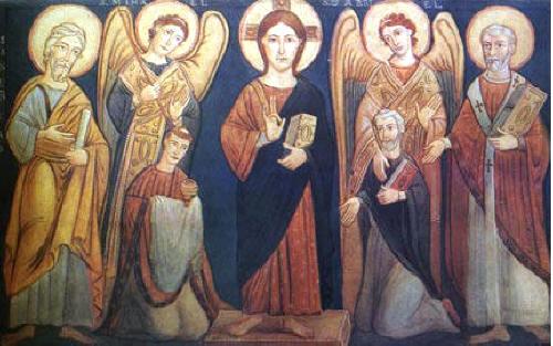 Свв. Методий и Кирил. Стенопис от IX в. в базиликата Сан Клементе в Рим