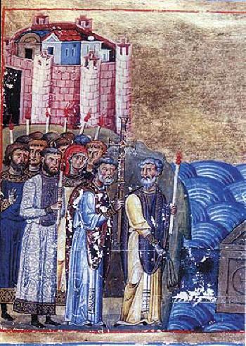 Свв. Константин-Кирил и Методий. Изображение в Менология на Василий II от XI век.  Апостолическа библиотека във Ватикана.
