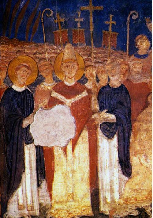 """Папа Адриан II (в средата с ореол) посреща Св. св. Кирил и Методий в Рим през 868 г. Стенопис от църквата """"Сан Клементе"""" (XI век)"""