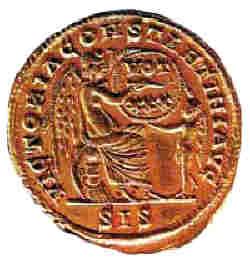 Бронзова монета на св. Константин Велики (ІV в.). Намерена в Несебър
