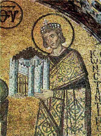 """Св. Константин Велики - детайл от мозайка в храма """"Света София"""" в  Константинопол. VI век."""