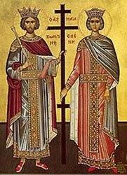 Свв. Константин и Елена, гръцка икона