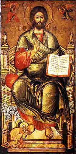 Митрополит Киприян в краката на Христос, руска икона