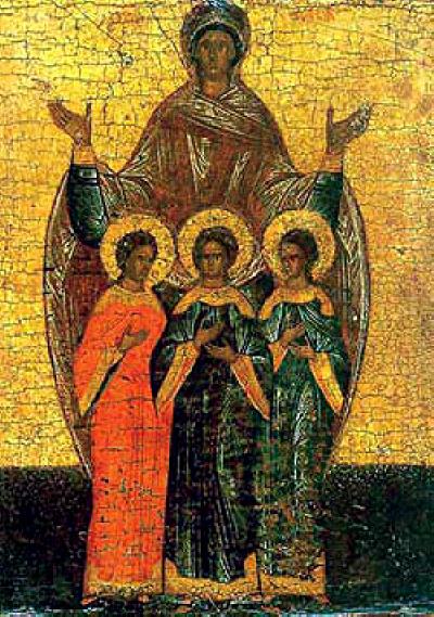Свв. мъченици Вяра, Надежда, Любов и тяхната майка София. Руска икона.