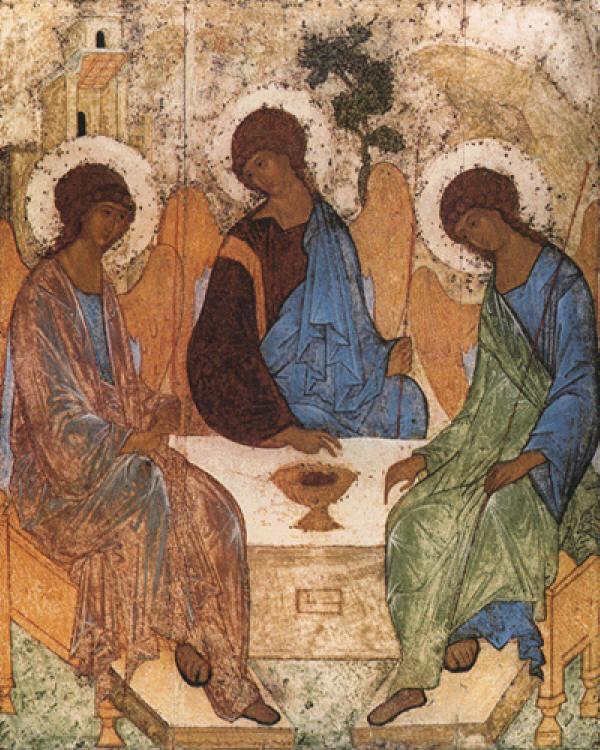 Посещението на Авраам (т.н. Старозаветна Троица). Икона от преп. Андрей Рубльов от Свето-Троицката Сергиева Лавра в Русия.