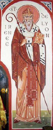 Св. Ириней Лионски, съвременна френска икона, фреска. Източник: la-france-orthodoxe.net.