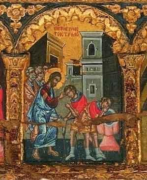 Св.ап.Тома докосва раните на Спасителя