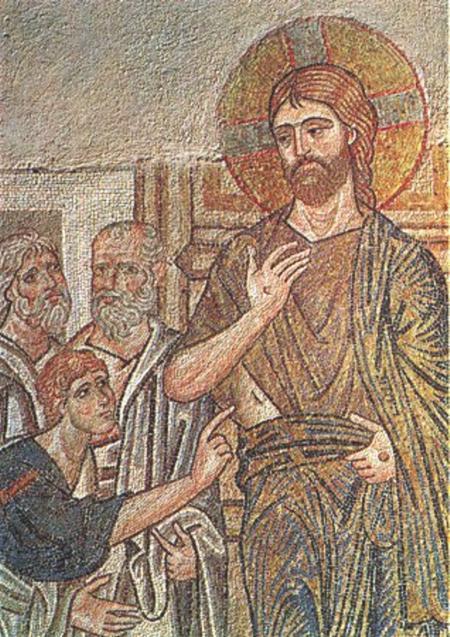 Уверението на св.ап. Тома. Мозайка от XI в. от храма в Дафия, Гърция.