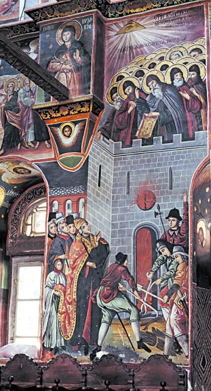 Светите двадесет и шест Зографски мъченици, Стенопис в манастира Зограф