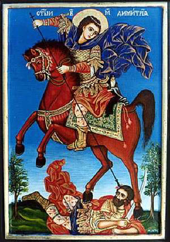 Св. Димитър. Съвременна икона от Марио Милев, icons-mm.hit.bg.