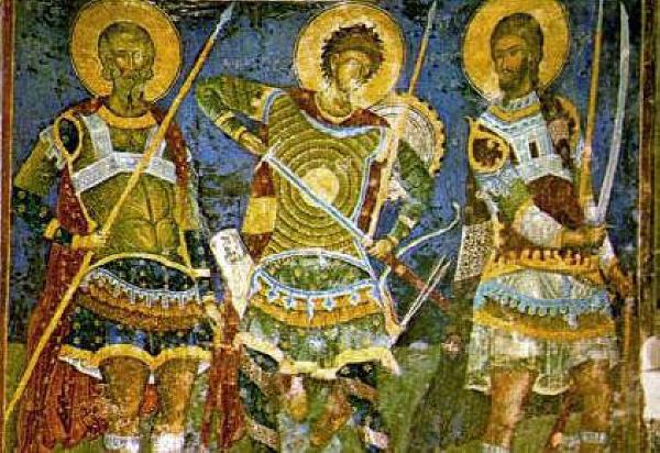Свети войни Арета, Нестор и Никита. Стенопис от сръбския манастир Манасиjа. Източник: spcportal.org