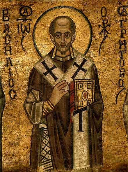 Св. Иоан Златоуст. Детайл от мозайка от 1040 г., от Светителския чин в Софийский Собор в Киев. Източник: artclassic.edu.ru.