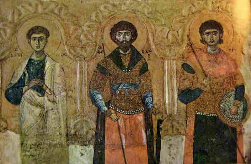 Св. апостол Филип със св. Теодор Тирон и св. Димитрий Солунски. Икона от 11-12 в. Днес в Московския Ермитаж
