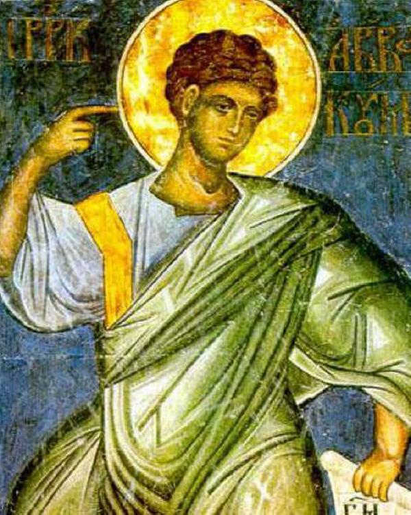 Св. пророк Авакум. Стенопис от сръбския манастир Манасиjа. Източник: spcportal.org