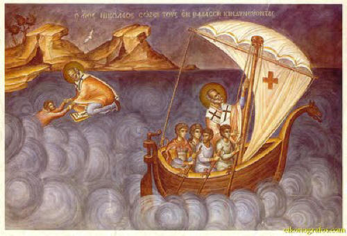Св. Николай спасява по море. St. Nicholas saving on sea. Source: gpdormition.com.