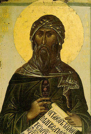 """Св. Йоан Дамаскин. Стенопис от скита """"Св. Ана"""" в Св. Гора Атон"""