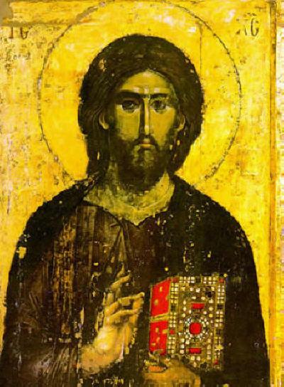 Иисус Христос Вседържител. Стенопис от 1260-1270 година от Хилендарския монастир в Света Гора Атон