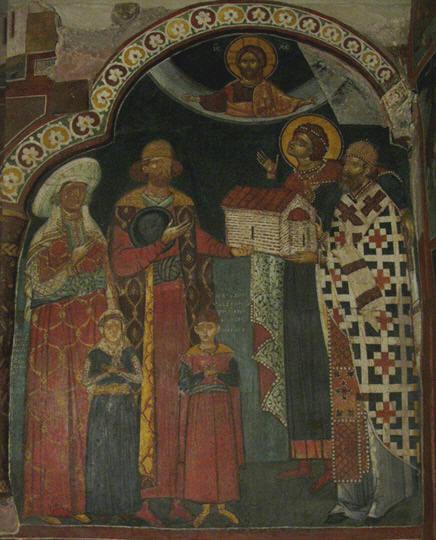 В притворе изображены ктиторы боярин Радивой, его жена, дети и софийский...