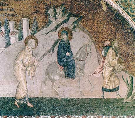 """Пътуване към Витлеем. Мозайка от XIV в. от XIV в. от Църквата """"Иисус Христос Спасител в Хора"""" в Истанбул."""